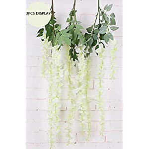 Anlise Artificial Silk Wisteria Vine Ratta Fake Hanging Garland Flowers for Home Wedding Party Decor, Pack of 6 2