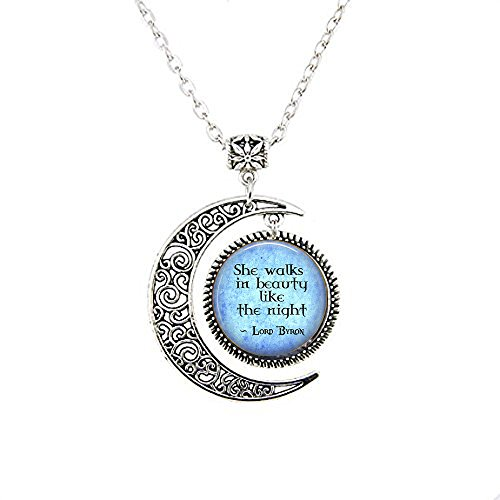 yijun Lord Byron Quote She Walks in Beauty Like The Night - Poetic Jewelry - Literary Gift - Literature Moon Necklace - Poem Moon Necklace -