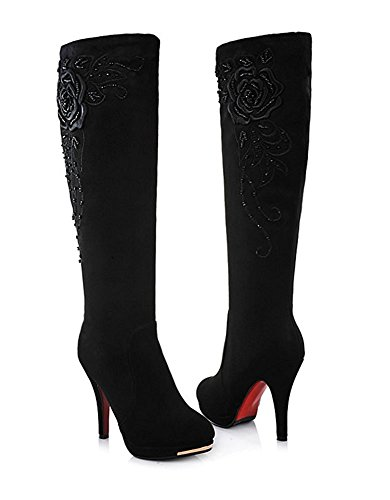 Ladies Boots Shoes Shine High Black Stretch High Maybest Block Womens Heel Long 5Oqv7InIw