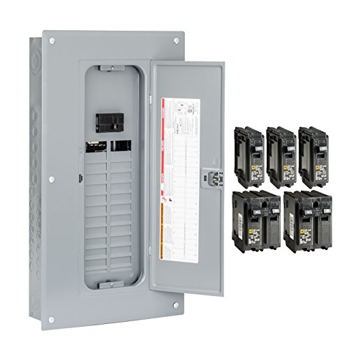 Square D by Schneider Electric HOM2448M100PCVP Homeline 100 Amp 24-Space 48-Circuit Indoor Main Breaker Load Center with Cover - Value Pack (Plug-on Neutral Ready),