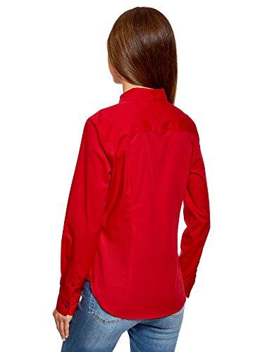 Ultra avec Basique Rouge Chemise Femme Poche oodji 4579b 8Bqdwn