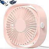AmuseNd USB Desk Fan, USB Power Desktop Fan Ultra-Quiet Third Gear Speed 4inch Portable Mini Fan for Bedroom Office Desktop (Pink)