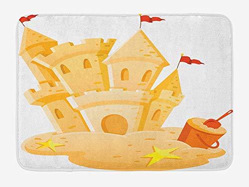 Doormat, Kids Bath Mat, Sand Castle Kingdom Summer Season Hobby Activity on The Beach Children Game Design, Plush Bathroom Decor Mat with Non Slip Backing, 23.6 W X 15.7 W Inches, Pale Yellow