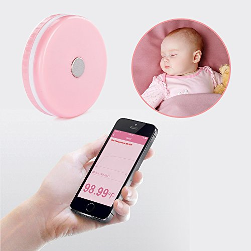 Smart Baby Thermometer Wearable Professional Accurate Monitor via APP Compatible with iOS and Android FDA Approved (Pink)