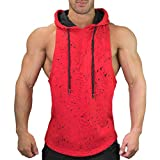 Xlala Men's Slim Solid Vests Summer Casual Hooded Pure Color T Shirt Snowflake Sleeveless Top Large Open Forked Blouse Sports Tank (Red, M)