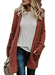 Hotapei Women Cable Knit Cardigans Oversized Autumn Winter Soft Pockets Long Sleeve Velvet Open Front Sweaters For Women Cardigan Plus Size Red Xxl