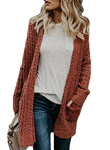 Dokotoo Womens Soft Casual Solid Autumn Loose Fashion Ladies Oversized Long Sleeve Open Front Sweater Popcorn Cardigans Outerwear Jacket with Pockets Small