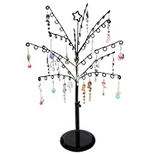 Earring Tree Holder, Botitu Black 15.8 inch Tall Jewelry Stand with 84 Hooks and Tree Branches Necklace Rack for Counter Retail Jewelry Bracelet Display, Perfect for Women and Girl's Dresser, Nightstand and Bathroom Jewelry Organizer Storage