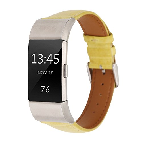 Price comparison product image Juzzhou Watch Band For Fitbit Charge 2 Watchband Wriststrap Leather Bracelet Guard Replacement Wrist Strap Sport Wristband With Metal Stainless Steel Adjustable Clasp For Woman Lady Girl Yellow