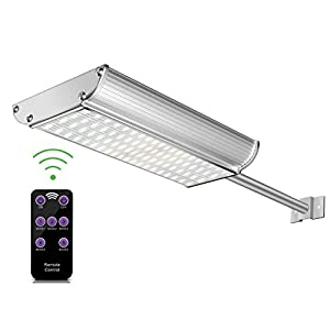 Solar Lights Outdoor, Aluminum Wall Sconces with Mounting Pole, Radar Motion Sensor and Remote Control, 70 LEDs WaterproofSecurity Lighting for Barn Porch Garage