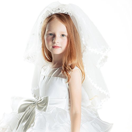 Frcolor Girl's 2 Layers Veils Ivory Lace Flower Veil Hair Accessory with Tiara Crown for Party