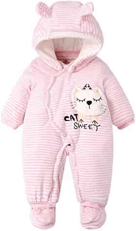 f56602d6a Happy Cherry Infant Baby Winter Jumpsuit Cartoon Hooded Soft Rompers  Bodysuit