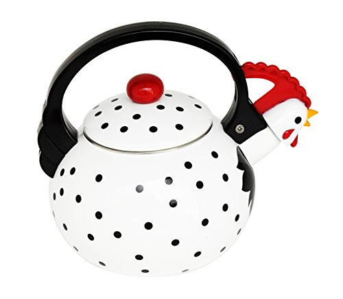 HOME-X Leghorn Rooster Whistling Tea Kettle, Animal Teapot, Kitchen -