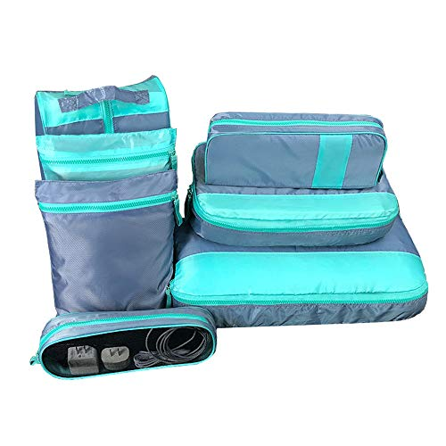 Travel Packing Cubes Set 7Pcs Portable Luggage Storage Bag Travel Luggage Organizers for Suitcase, Light Green and Grey