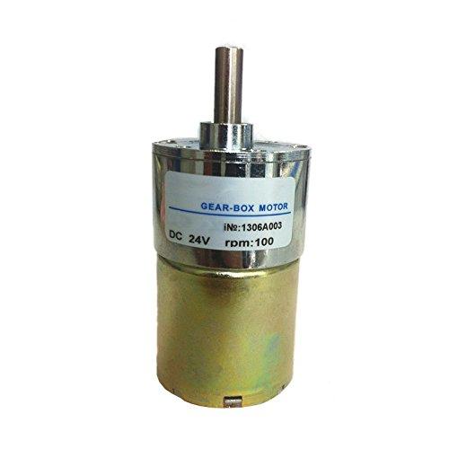 Tolako 37mm 24V High Torque DC Permanent Magnet Gear Motor 100rpm Metal Geared Motor (100RPM)