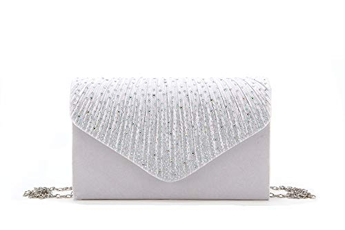 (Nodykka Women Evening Envelope Rhinestone Frosted Handbag Party Bridal Clutch Purse Shoulder Cross Body Bag)
