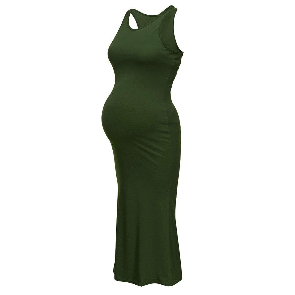 iLOOSKR Women Maternity Sleeveless Backless Dress Summer Solid Nursing Dress