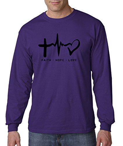 - New Way 491 - Unisex Long-Sleeve T-Shirt Faith Hope Love Inspirational Foundation Medium Purple