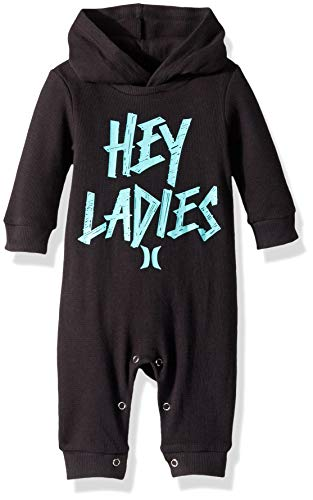 (Hurley Baby Boys Long Sleeve Hooded Coverall, Black Chill, 9M)