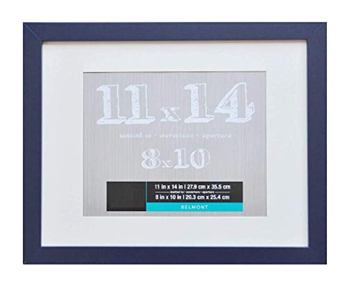 11 x 14 Navy Blue Wall Photo Frame with White Matte - 11