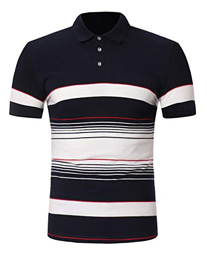 FRTCV Men Short Sleeve Polo Shirts Casual Cotton Rugby T-Shirts Tops US XL/Asian 3XL Navy Blue 811