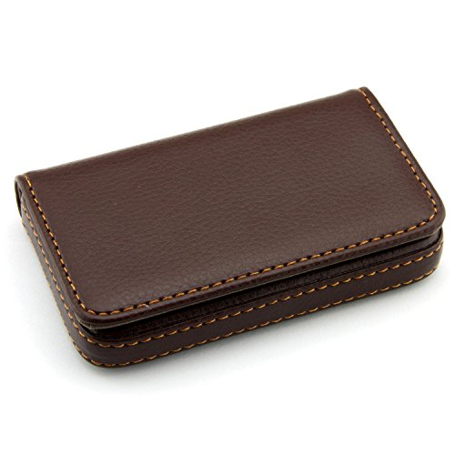 Partstock(TM) Flip Style Leather Business Name Card Wallet / Holder 25 Cards Case 4L x 2.8W inches with Magnetic Shut.(Brown)