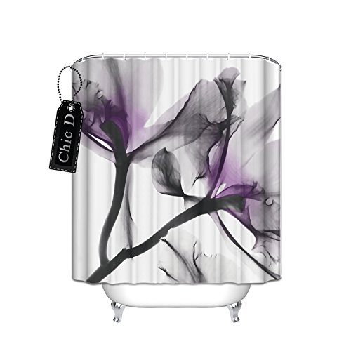 Chic D Home Decorations Contemporary X-Ray Flowers Shower Curtain, Floral, Lavender,72 x 72 Inch Long ()