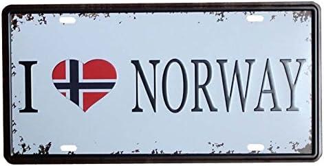 plumtall I Love Norwegen Auto Tag Metall Nummernschild Vintage Home Decor Bar Pub Cafe Blechschild Metall Art Wandbild Plaque 15,2/x 30,5/cm