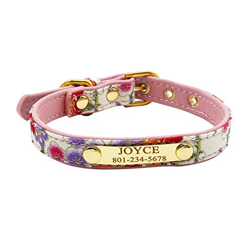 (Personalized Dog Collar, Customize Name Phone Number on Engraved Nameplate, Floral Print Puppy Collars for Small Medium Dog, XS Collar for Cat, Matching Dog Leash & Dog Bandana Available)