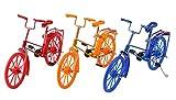 Bicycle Model Decoration Mini Bike Model, Dedoot 3 Pcs Plastic Diecast Bicycle Model Handmade Craft Toy for Kids, Desktop Decoration, House Decor Accessories- 3 Color