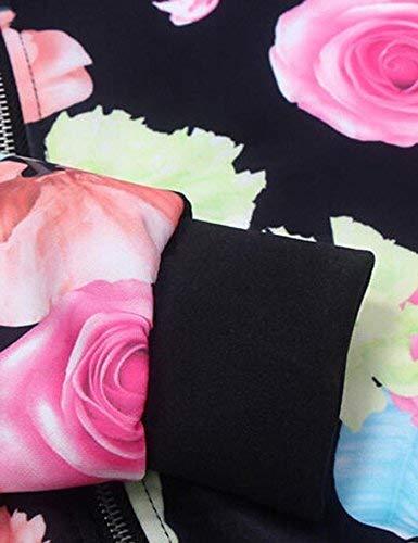 Giacche Modello Di Relaxed Cappotto Casual Mode Autunno Giacca Cerniera Donna Fiore Eleganti Bianca Outerwear Maniche Con Bomber Lunghe Marca Fashion rBwBXzq