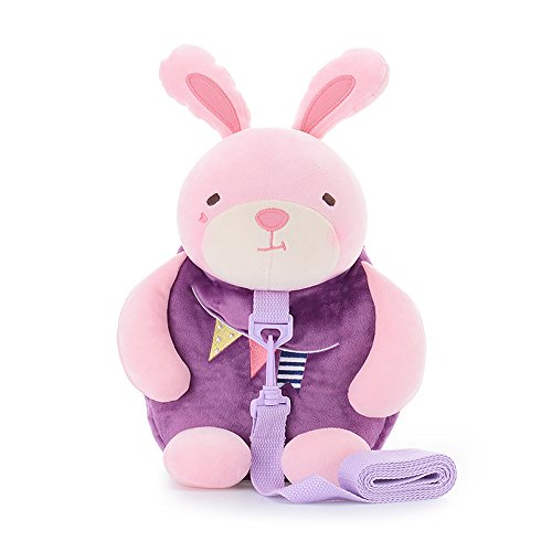 Toddler Backpack,JGOO 2 IN 1 Mini Travel Safety Harness Anti-lost Baby Backpack w/ Detachable Leash,Adorable Plush Kids Walking Daypack,Purple Rabbit from JGOO