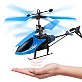 Remote Control Helicopter Flying Toys, Mini Led Rechargeable Hand Operated Drone with LED Light for Kids, Boys Girls Indoor Outdoor Games (Blue)