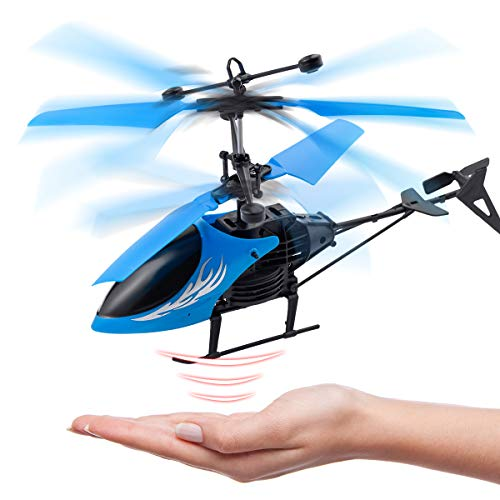 (Remote Control Helicopter Flying Toys, Mini Led Rechargeable Hand Operated Drone with LED Light for Kids, Boys Girls Indoor Outdoor Games (Blue) )