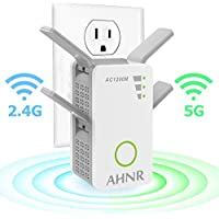 WiFi Range Extender, WiFi Signal Booster, AHNR Wireless WiFi Repeater AC1200 2.4/5GHz Dual Band Up to 1200 Mbps with 4 External Antennas, Supports Router Mode/Repeater/Access Point