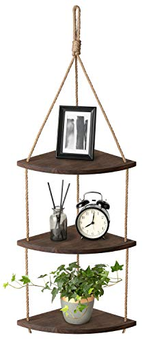 Mkono Hanging Corner Shelf 3 Tier Jute Rope Wood Wall Floating Shelves Rustic Organizer Displays Storage Rack Home Decor for Living Room Bedroom Bathroom Kitchen, Dark Brown ()
