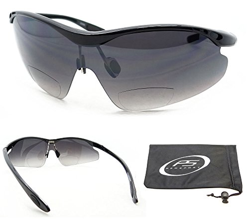 PRO Gradient Bifocal Reader Sunglasses 2.0 with Half Frame for Motorcycle Riding, Cycling, Driving and All sports Activities. Fits Medium Head Size. Asian Fit. Free Microfiber Cleanging Case - Eyewear Free