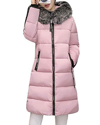 Libero Lunga In Pureed Addensare Trapuntata Outerwear Cotone Pelliccia Caldo cappuccio Eleganti Cappotto Pink Con Tempo Outdoor Trapuntato Donna Giorno Manica Giacca 8qBwv8Z