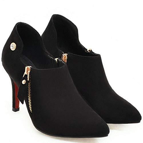 Donne Donne Donne Zanpa Top Shoes Shoes Shoes Shoes Pointed Stivali Moda nero Cerniera Low 2 HBqqdF
