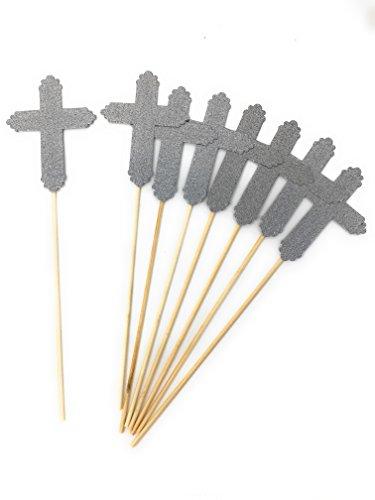 (Set of 8 Silver Glitter Cross Centerpiece Sticks for Baptism Funeral First Communion Floral Picks (Silver,)