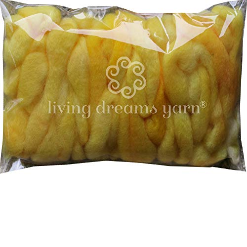 Wool Roving Hand Dyed. Super Soft BFL Combed Top Pre-Drafted for Easy Hand Spinning. Artisanal Craft Fiber ideal for Felting, Weaving, Wall Hangings and Embellishments. 1 Ounce. Lemon