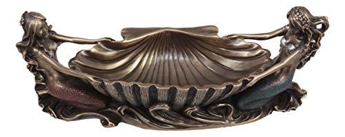 (Ebros Coastal Decor Two Mermaids Soap Dish Figurine 9.75