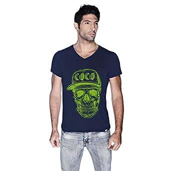 Creo Green Coco Skull T-Shirt For Men - L, Navy Blue