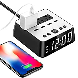 2020 LED Digital Alarm Clock Power Strip USB Charger Surge Protection 4 Dimmer Brightness Snooze for Bedside Extender Cord Socket for iPhone Ipad Samsung Computer Laptop Home Office Travel Hotel