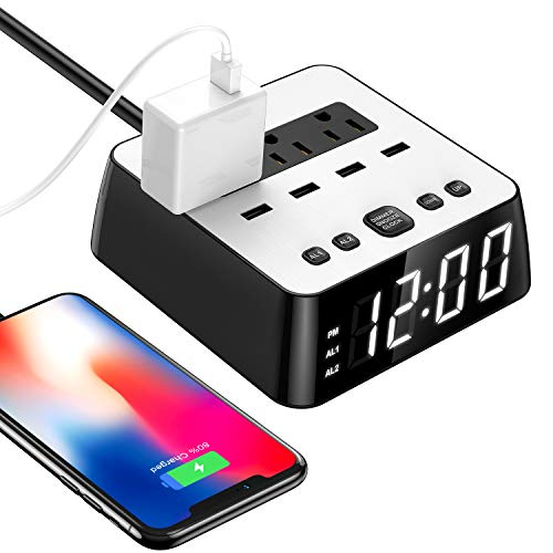 2019 LED Digital Alarm Clock Power Strip USB Charger Surge Protection 4 Dimmer Brightness Snooze for Bedside Extender Cord Socket for iPhone Ipad Samsung Computer Laptop Home Office Travel Hotel