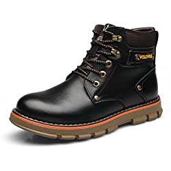YINHAN Men's Winter Warm Ankle Boots Mitary Combat Leather Shoes