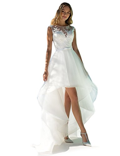 DarlingU Women\'s A-line Round Neck High Low Wedding Dresses Beach ...