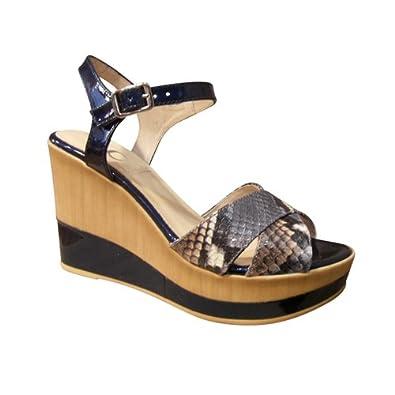 chaussures de séparation 5f964 8b3eb Gadea Sandale/Nu-Pied Cuir Bleu Talon compensé/Bloc.: Amazon ...