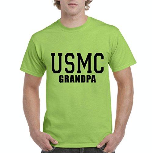 Xekia USMC Grandpa Proud Marine Corps Men's T-Shirt Tee XXXX-Large Lime Green -