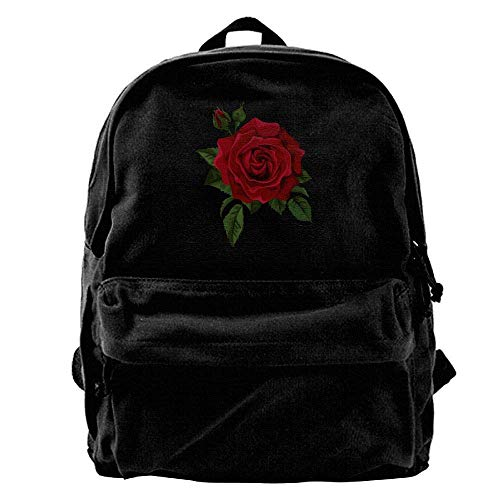 Bag 1 Rose Backpack Blcak Canvas Sd4r5y3hg Men's Shoulder Red Travel Classic C0qwOSv